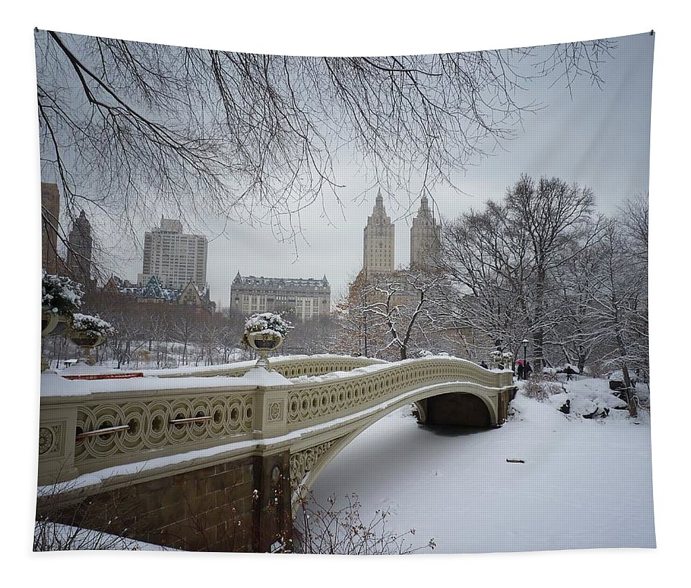Landscape Tapestry featuring the photograph Bow Bridge Central Park in Winter by Vivienne Gucwa