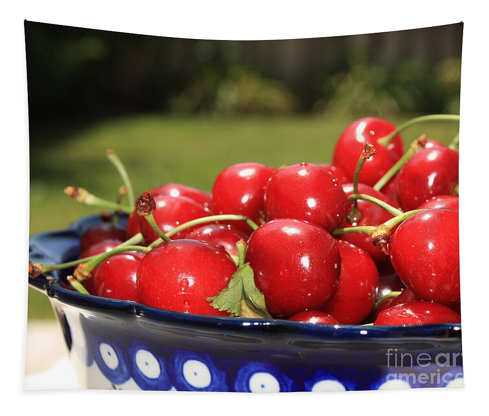 Cherries Tapestry featuring the photograph Bowl Of Cherries In The Garden by Carol Groenen