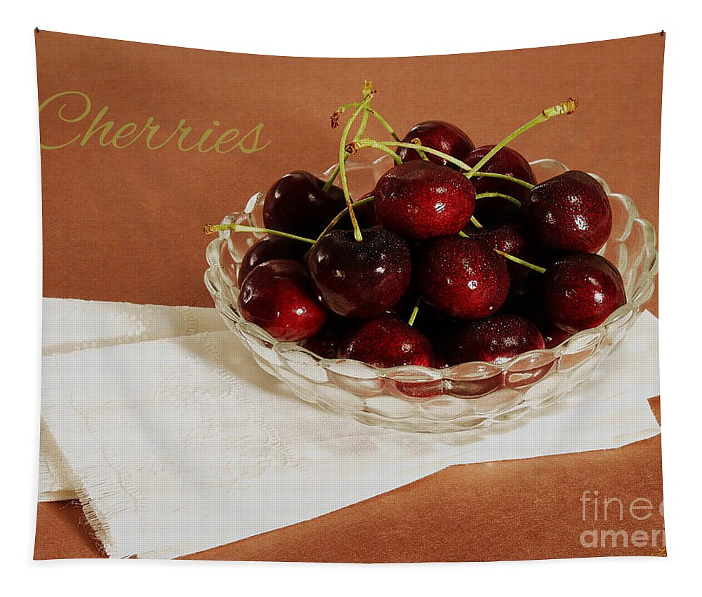 Food Tapestry featuring the photograph Bowl Of Cherries With Text by Iris Richardson