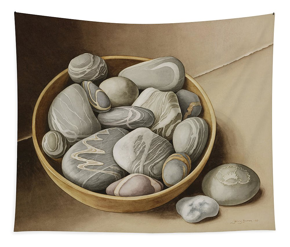 Still Life Tapestry featuring the painting Bowl Of Pebbles by Jenny Barron