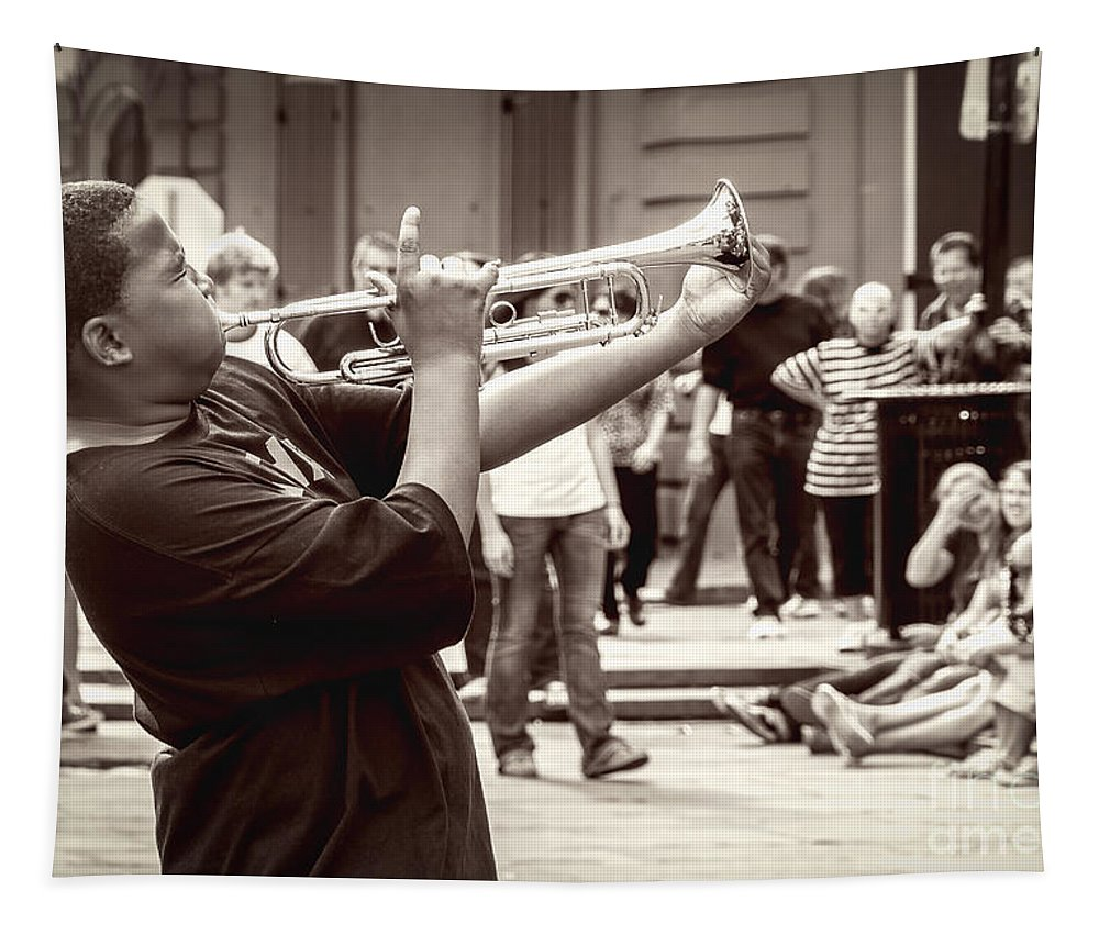 Trumpet Tapestry featuring the photograph Boy On A Trumpet In Nola by Kathleen K Parker