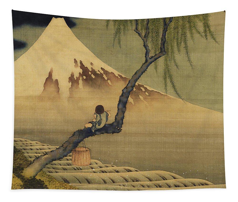 Katsushika Hokusai Tapestry featuring the painting Boy Viewing Mount Fuji by Katsushika Hokusai