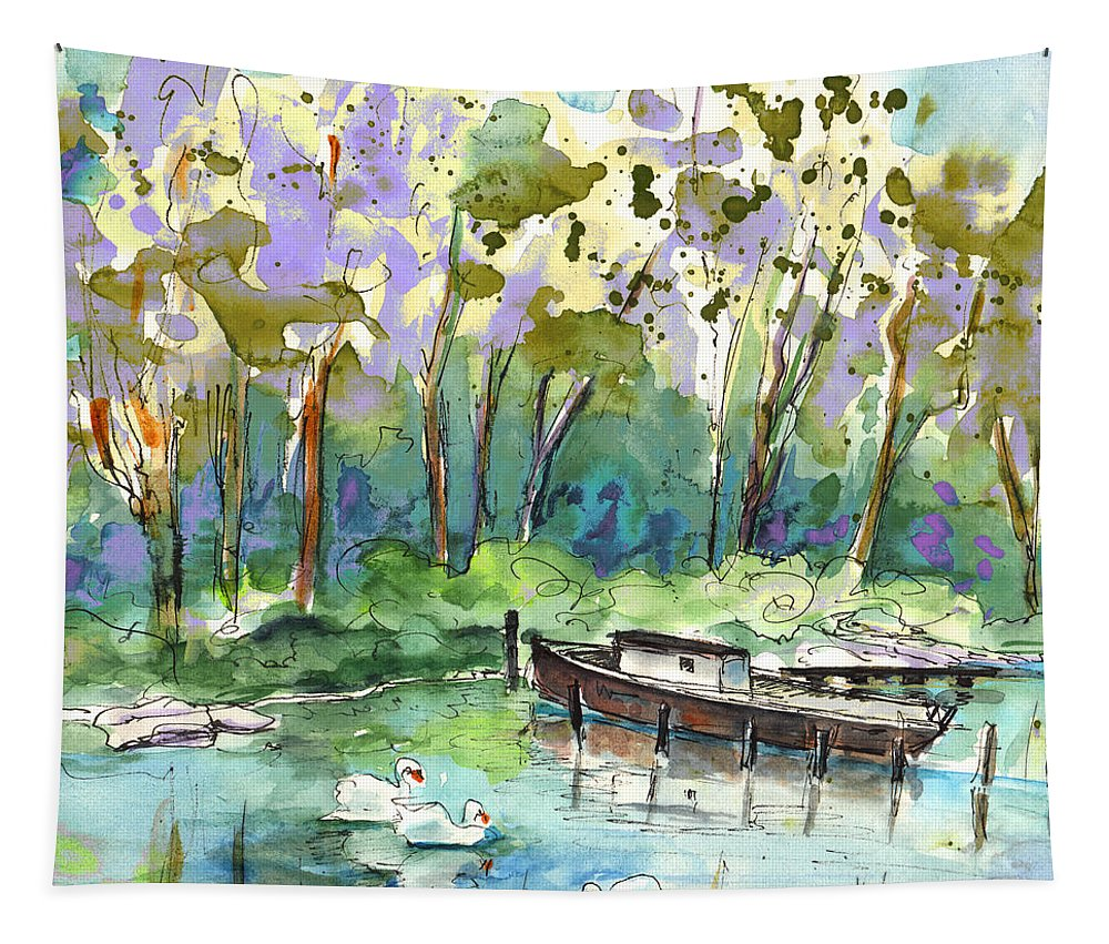 Travel Tapestry featuring the painting Bray Sur Seine 01 by Miki De Goodaboom