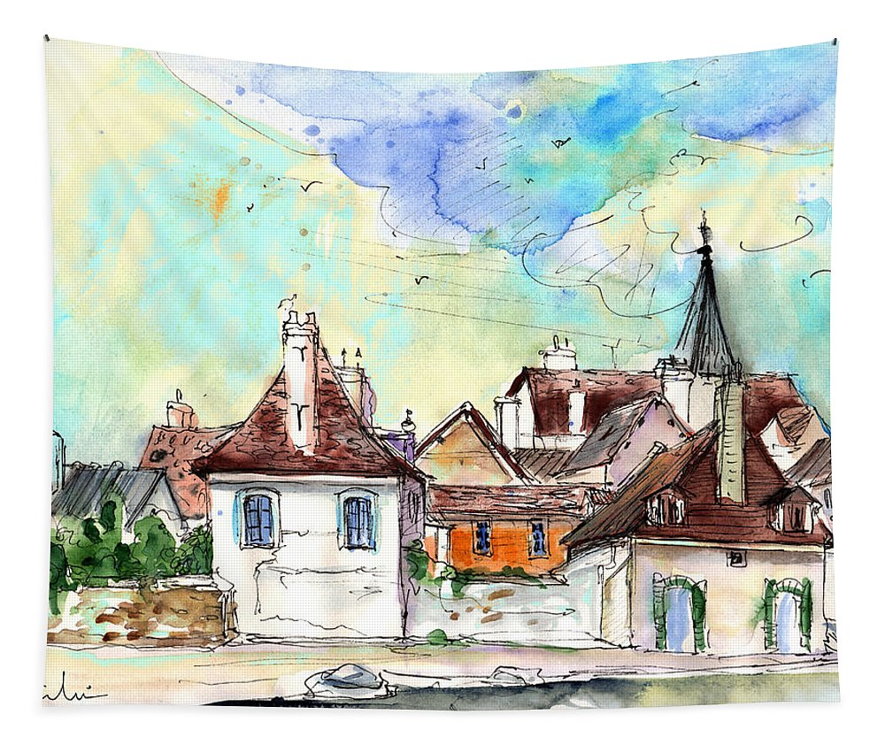 Travel Tapestry featuring the painting Bray Sur Seine 02 by Miki De Goodaboom