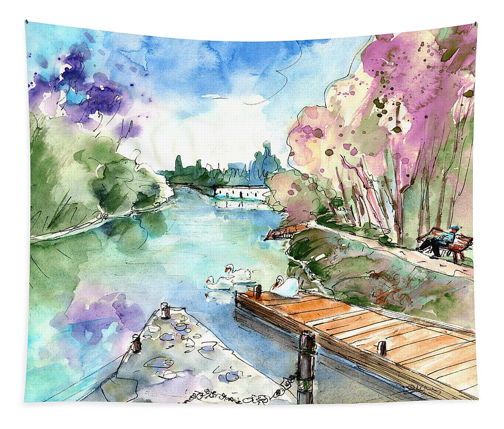 Travel Tapestry featuring the painting Bray Sur Seine 03 by Miki De Goodaboom