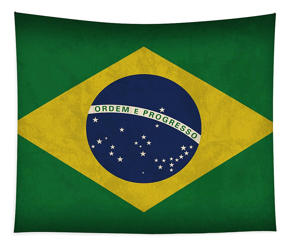 Brazil Flag Tapestry featuring the mixed media Brazil Flag Vintage Distressed Finish by Design Turnpike