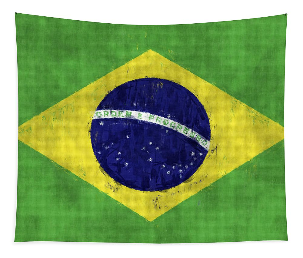 Brazil Tapestry featuring the digital art Brazil Flag by World Art Prints And Designs