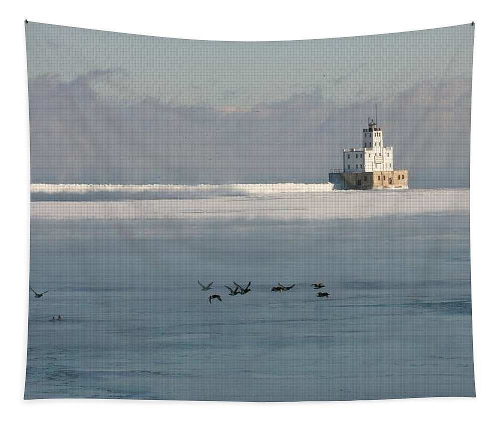 Break Wall Tapestry featuring the photograph Break Wall And Light House by Susan McMenamin