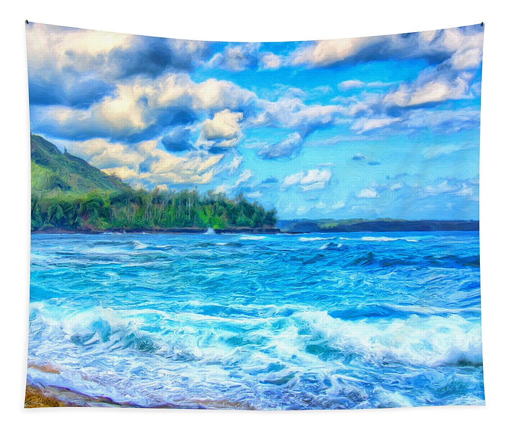 Breezy Tapestry featuring the painting Breezy Hawaii Morning by Dominic Piperata