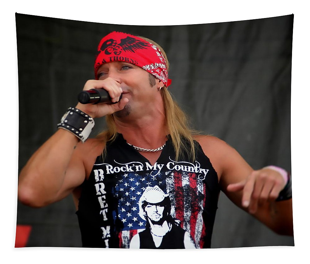 Bret Michaels Philadelphia Philly Musician Rockn My Country Tapestry featuring the photograph Bret Michaels In Philly by Alice Gipson
