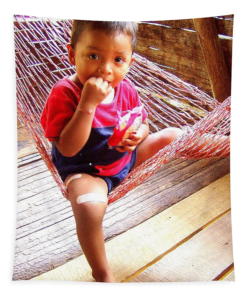 Child Tapestry featuring the photograph Bribri Indian Child In A Hammock by Laurel Talabere