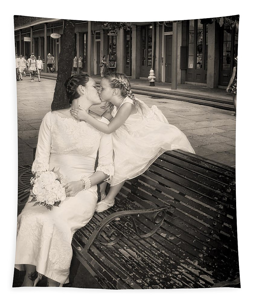 Mother Tapestry featuring the photograph Bride And Daughter Kiss In Jackson Square New Orleans by Kathleen K Parker
