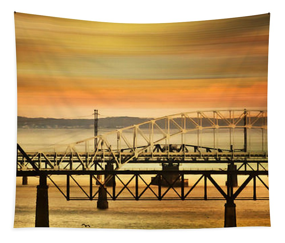 Bridge Tapestry featuring the mixed media Bridge After Bridge by Trish Tritz