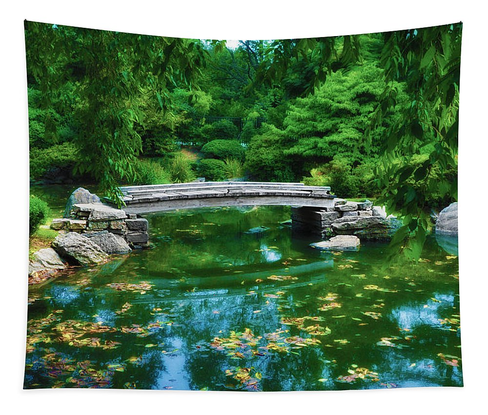 Bridge Tapestry featuring the photograph Bridge Over Koi Pond by Bill Cannon