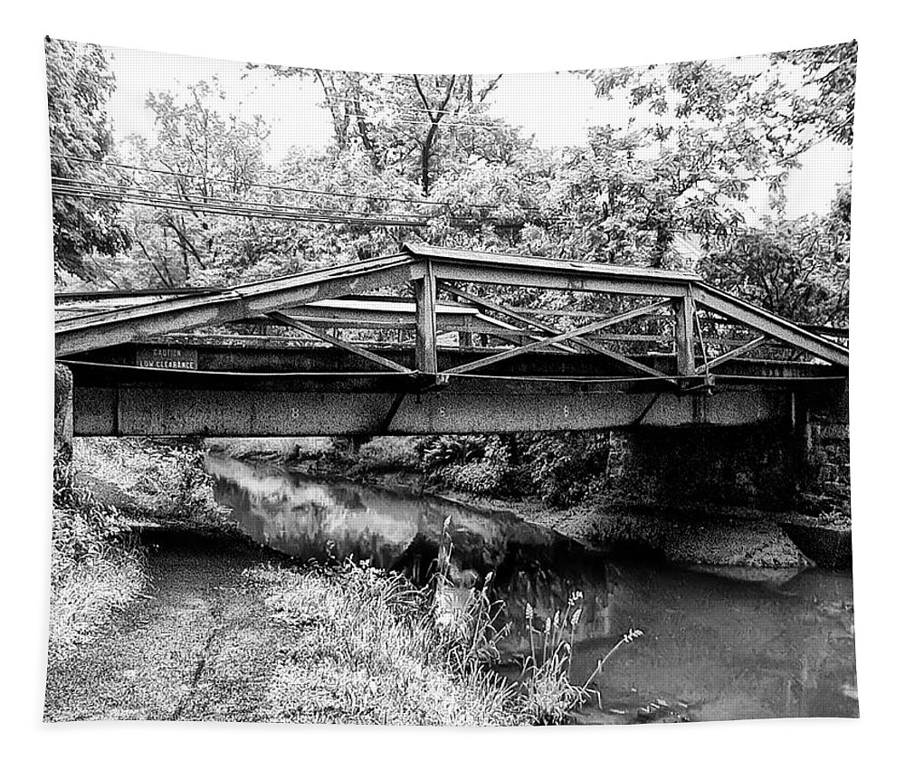 Bridge Tapestry featuring the photograph Bridge Over The Delaware Canal At Washington's Crossing by Bill Cannon