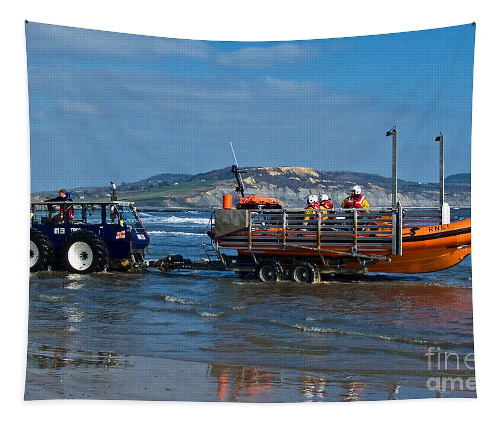 Rnli Tapestry featuring the photograph Bringing In The Lifeboat by Susie Peek