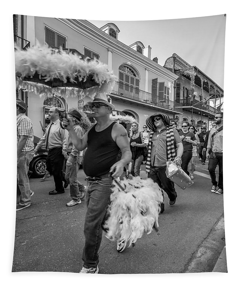 French Quarter Tapestry featuring the photograph Bringing Up The Rear Monochrome by Steve Harrington