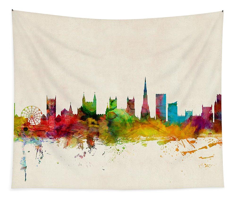 City Tapestry featuring the digital art Bristol England Skyline by Michael Tompsett