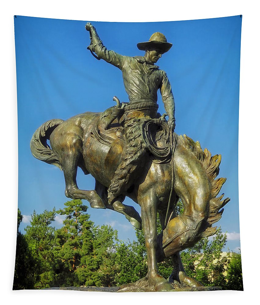 Bronco Buster Tapestry featuring the photograph Bronco Buster - Denver by Mountain Dreams