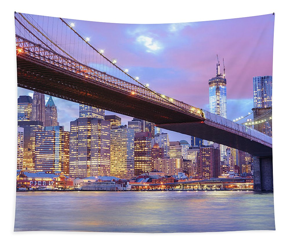 Nyc Tapestry featuring the photograph Brooklyn Bridge and New York City Skyscrapers by Vivienne Gucwa