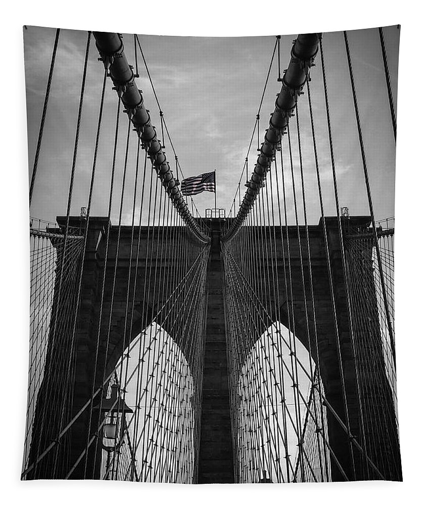 New York Tapestry featuring the photograph Brooklyn Bridge by Nicklas Gustafsson