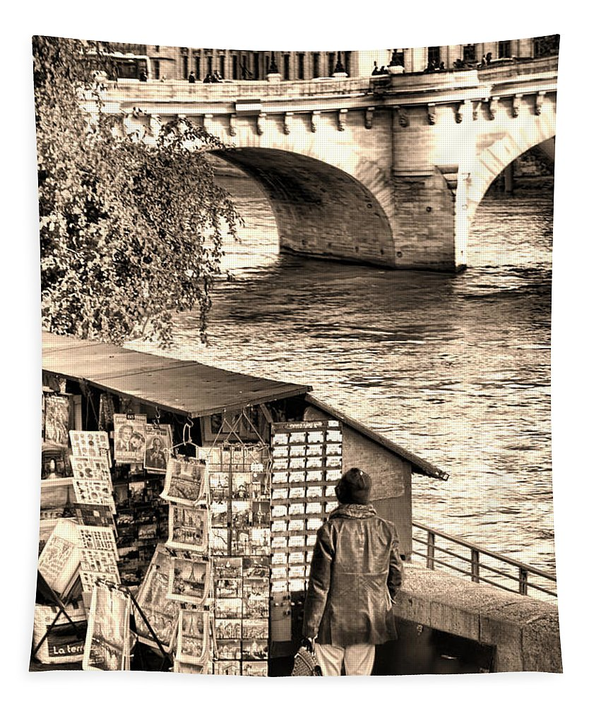 France Tapestry featuring the photograph Browsing The Outdoor Bookseller by Olivier Le Queinec