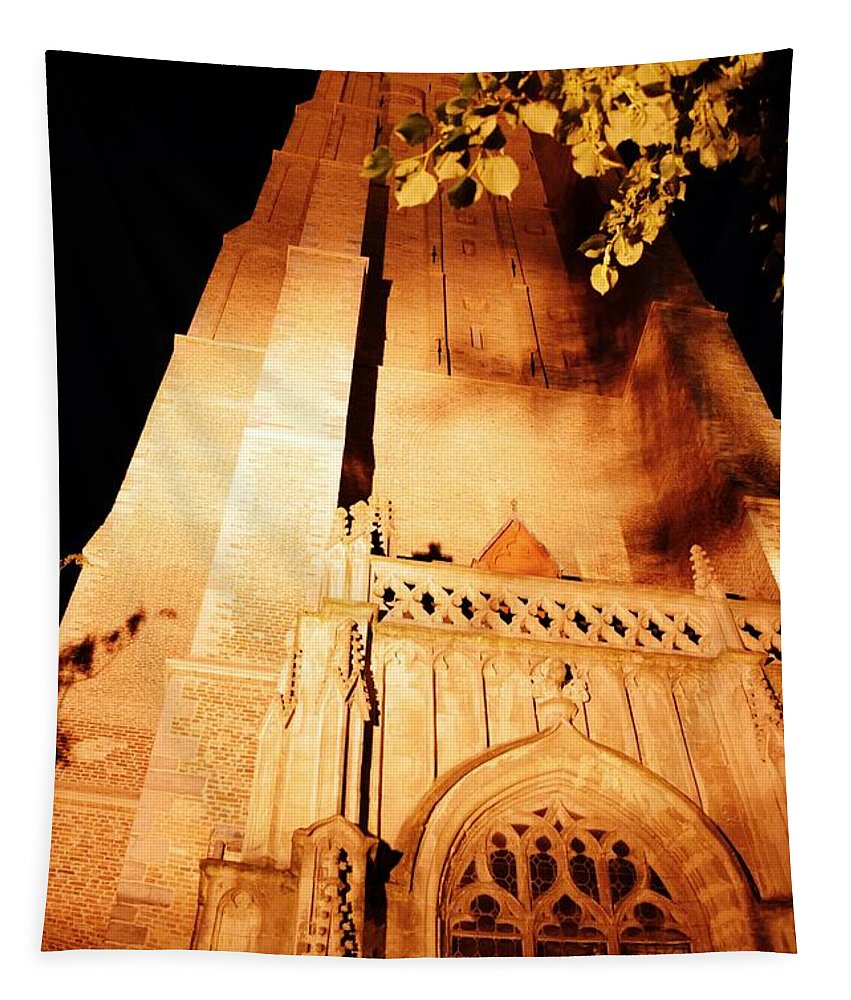 Brugge Belgium Tapestry featuring the photograph Brugge Cathedral At Night by Linda Covino