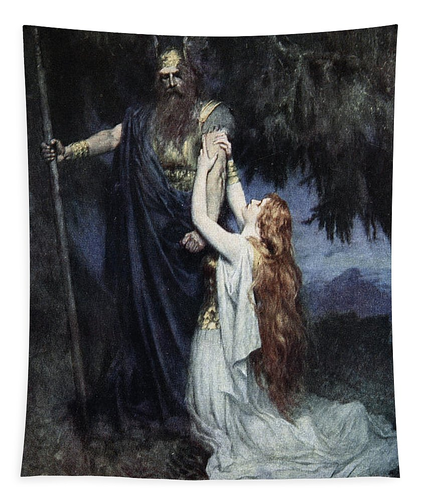 Viking Tapestry featuring the drawing Brunhilde Knelt At His Feet, From The by Ferdinand Leeke