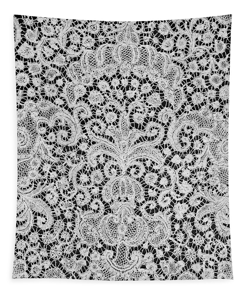 Brides; Lace; Black And White; Black; White; Monochromatic; Ornate; Decorative; Decoration; Textile; Fragile; Dainty; Design; Designs; Pattern; Patterns; Clothing; Clothes; Textiles; French; Beautiful; Beauty; Delicate; Fabric; Cloth; 18th C; Eighteenth Century; 18 Century Tapestry featuring the painting Brussels Dawn by Flemish School
