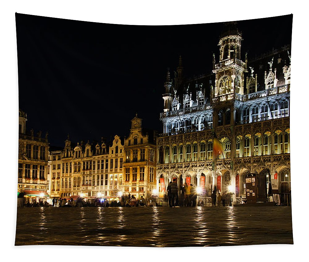 Brussels Tapestry featuring the photograph Brussels - The Magnificent Grand Place At Night by Georgia Mizuleva