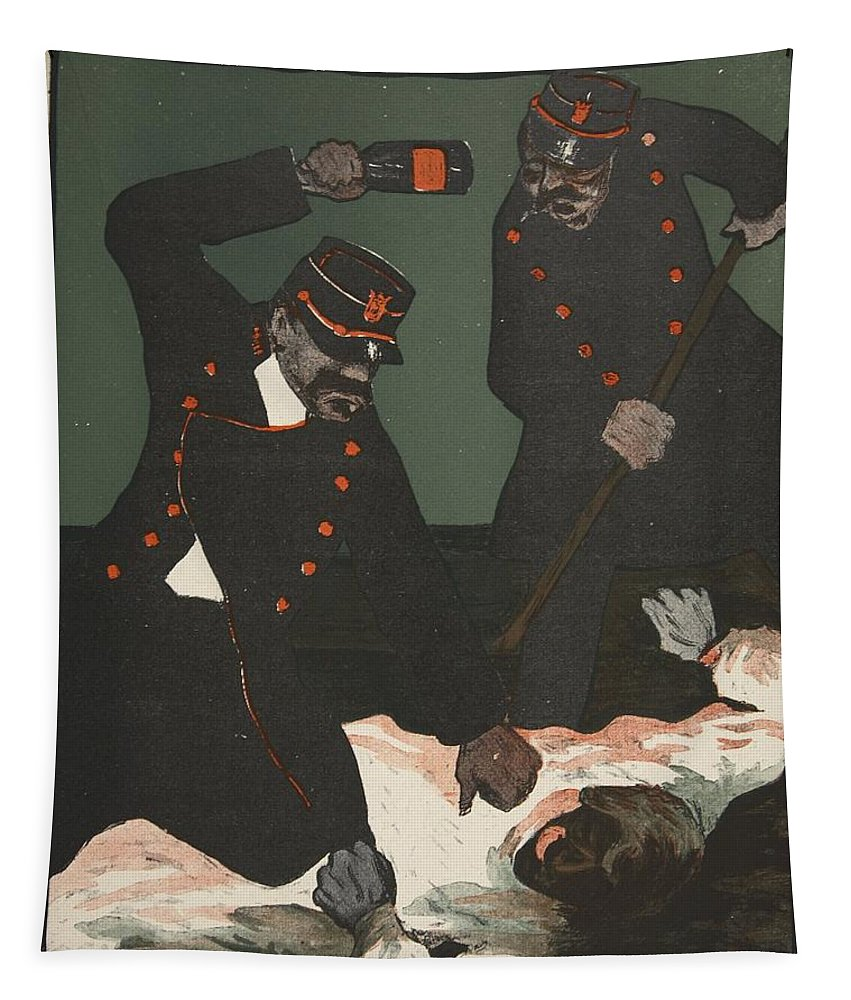 French Tapestry featuring the drawing Brutality Of Policemen, Illustration by Georges d' Ostoya