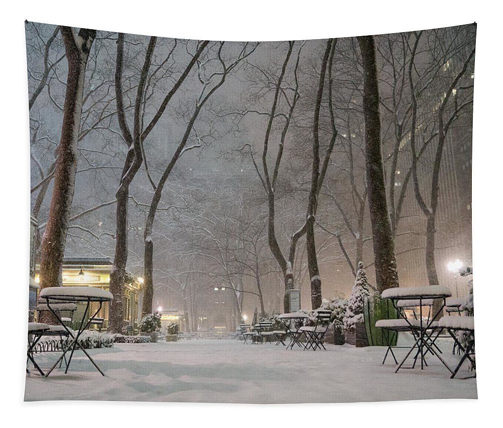 Nyc Tapestry featuring the photograph Bryant Park - Winter Snow Wonderland - by Vivienne Gucwa