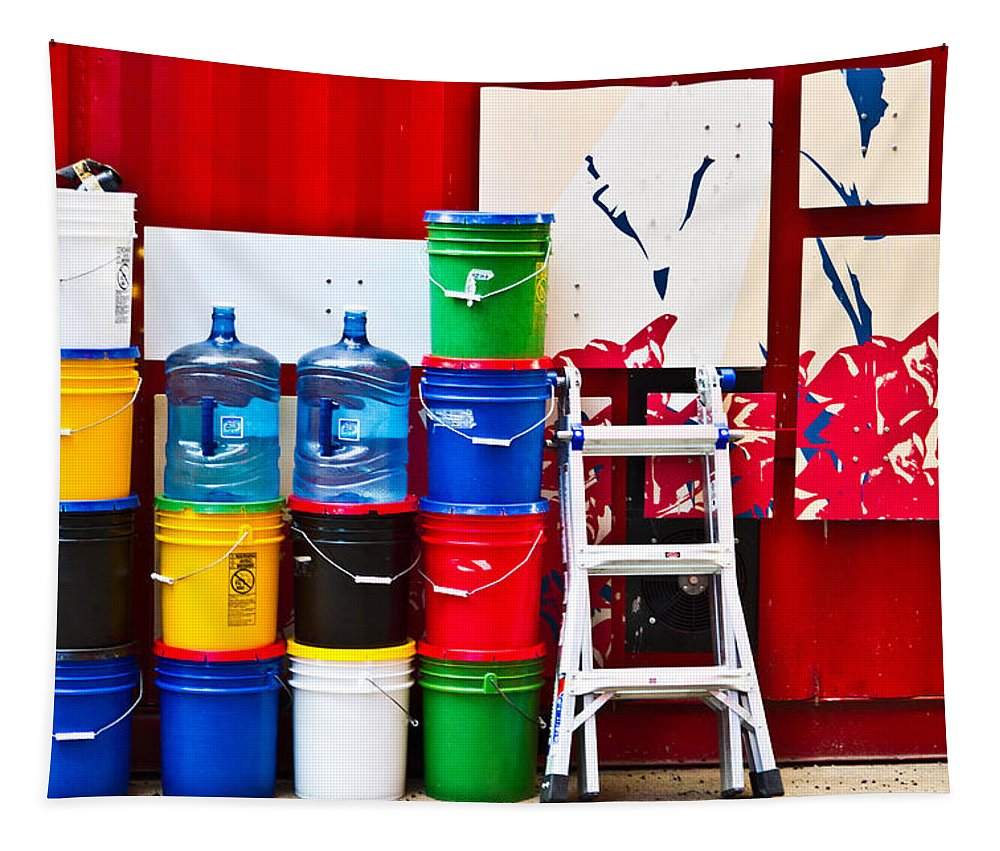 Colorful Tapestry featuring the photograph Buckets Of Color by Karol Livote