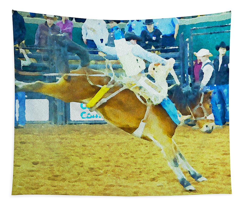Cowboy Bronc Bucking Saddle Rodeo Alicegipsonphotographs Tapestry featuring the photograph Bucking Bronc by Alice Gipson