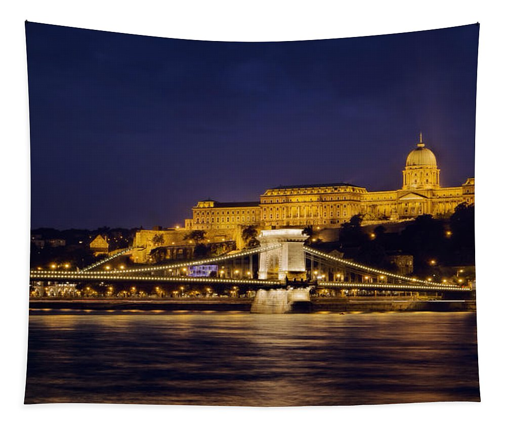 Joan Carroll Tapestry featuring the photograph Buda Castle And Chain Bridge by Joan Carroll
