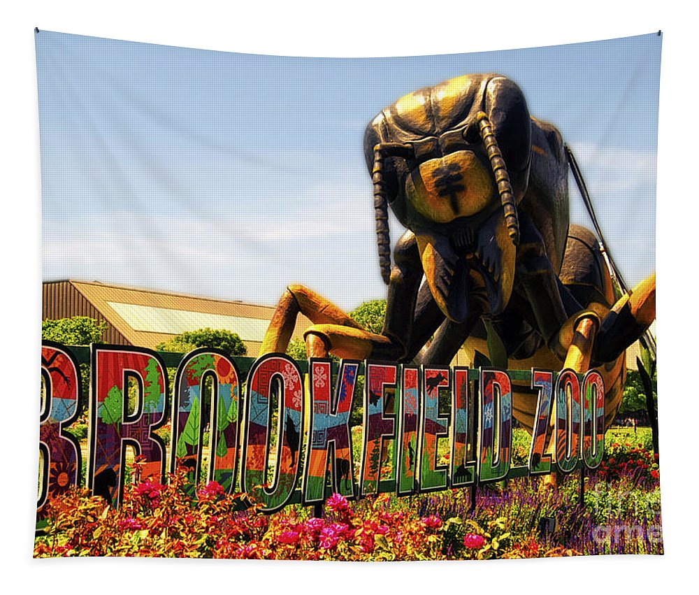 Brookfield Zoo Tapestry featuring the photograph Bugs At Brookfield Zoo Signage by Thomas Woolworth