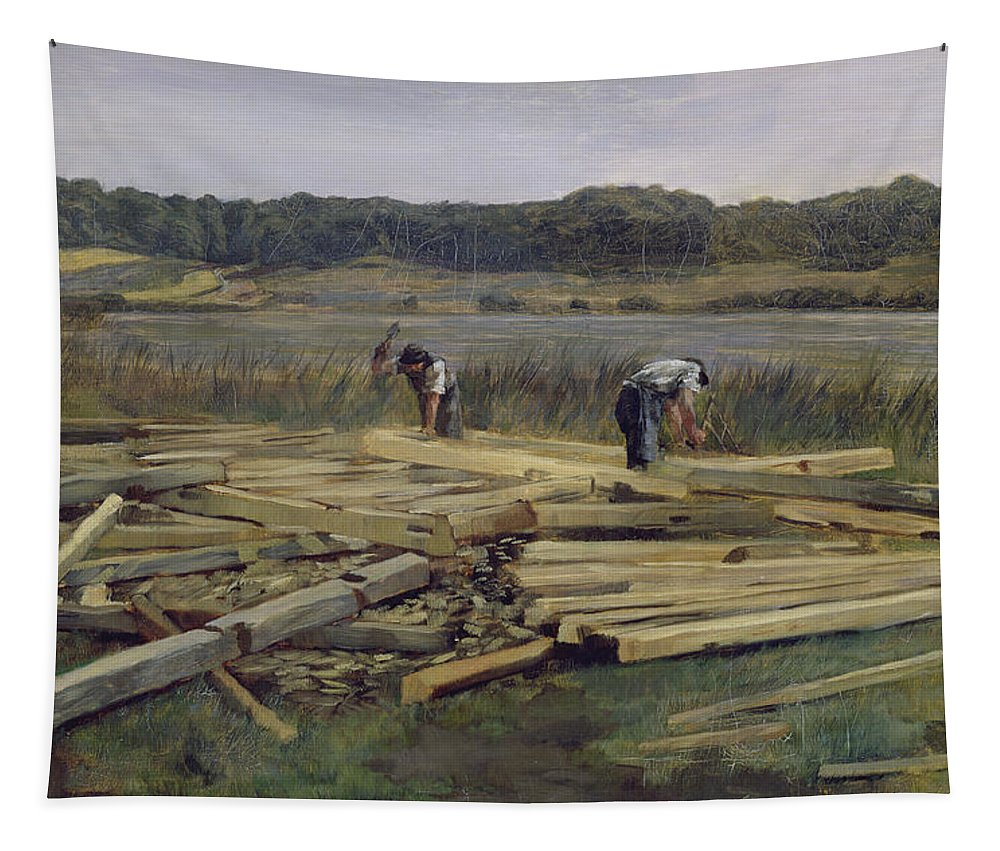 Timber Tapestry featuring the photograph Building Site At Wesslingersee, 1876 Oil On Canvas by Heinrich Wilhelm Truebner