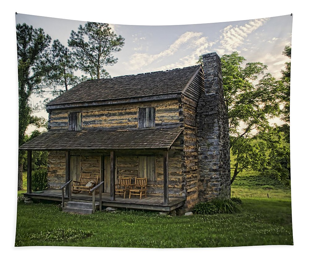 Log Cabin Tapestry featuring the photograph Built To Last by Heather Applegate