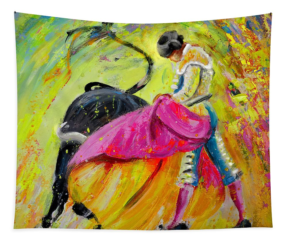 Animals Tapestry featuring the painting Bullfighting In Neon Light 01 by Miki De Goodaboom