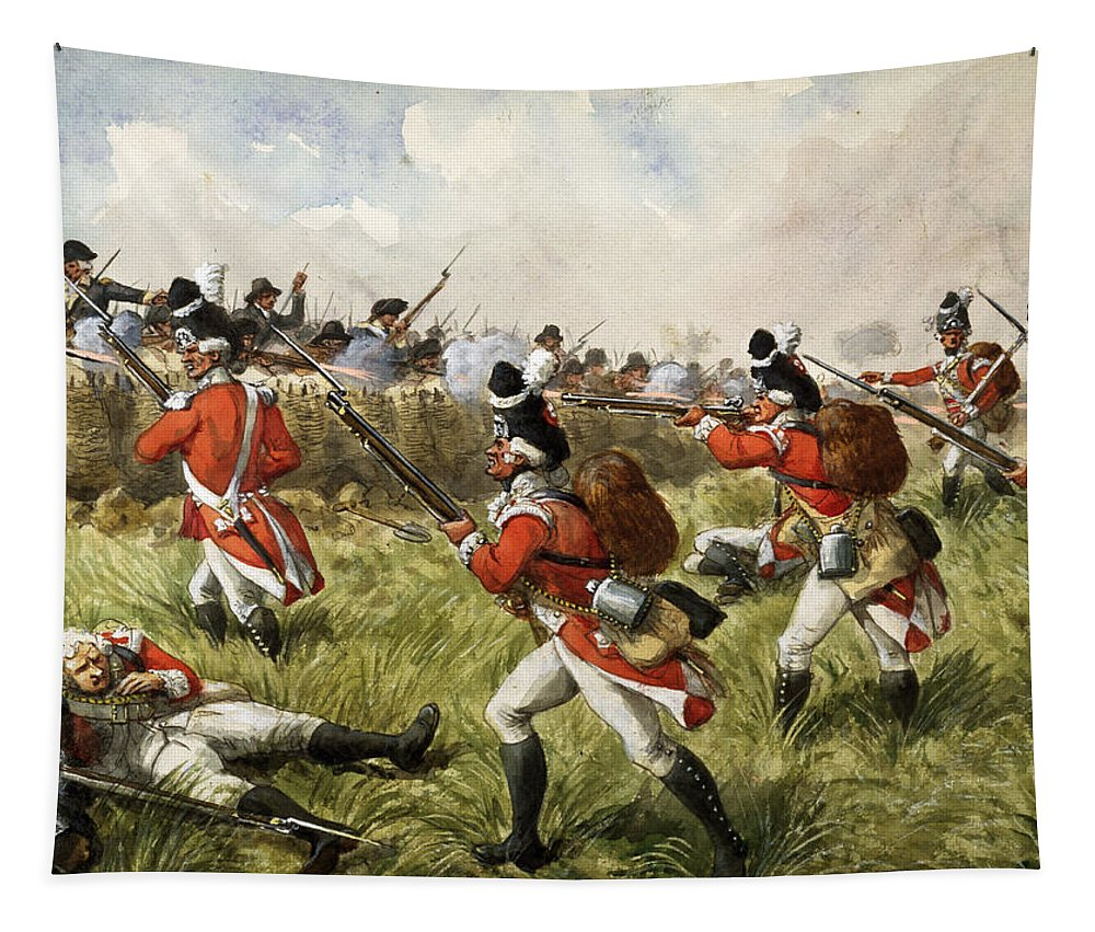 Shooting Tapestry featuring the painting Bunkers Hill, 1775 by Richard Simkin