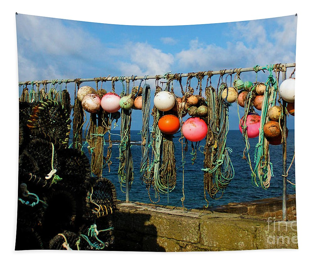 Sennen Cove Tapestry featuring the photograph Buoys And Pots In Sennen Cove by Terri Waters
