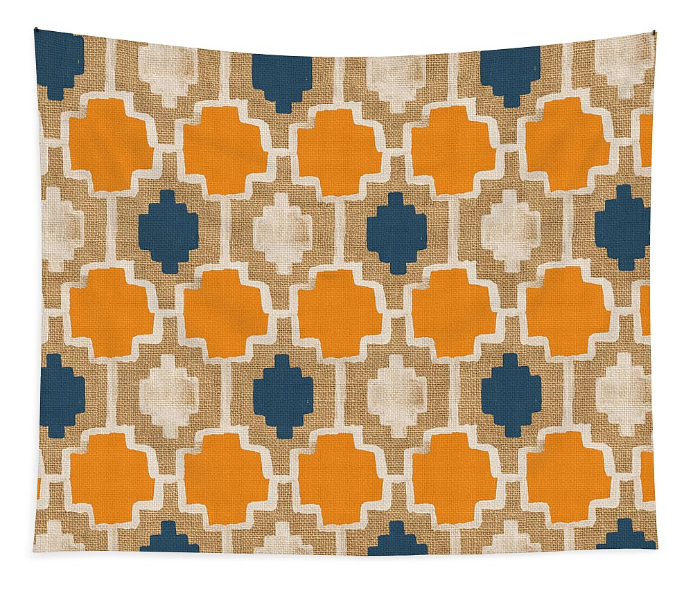 Abstract Pattern Tapestry featuring the painting Burlap Blue And Orange Design by Linda Woods