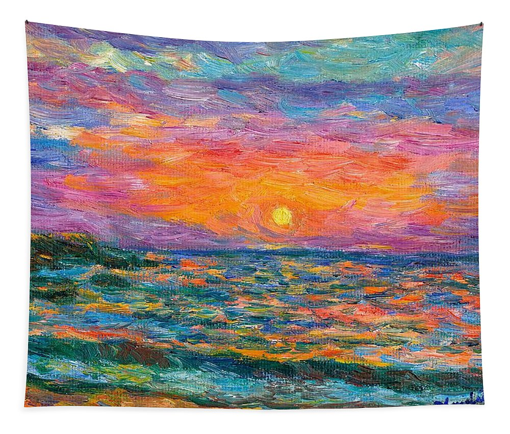 Ocean Tapestry featuring the painting Burning Shore by Kendall Kessler