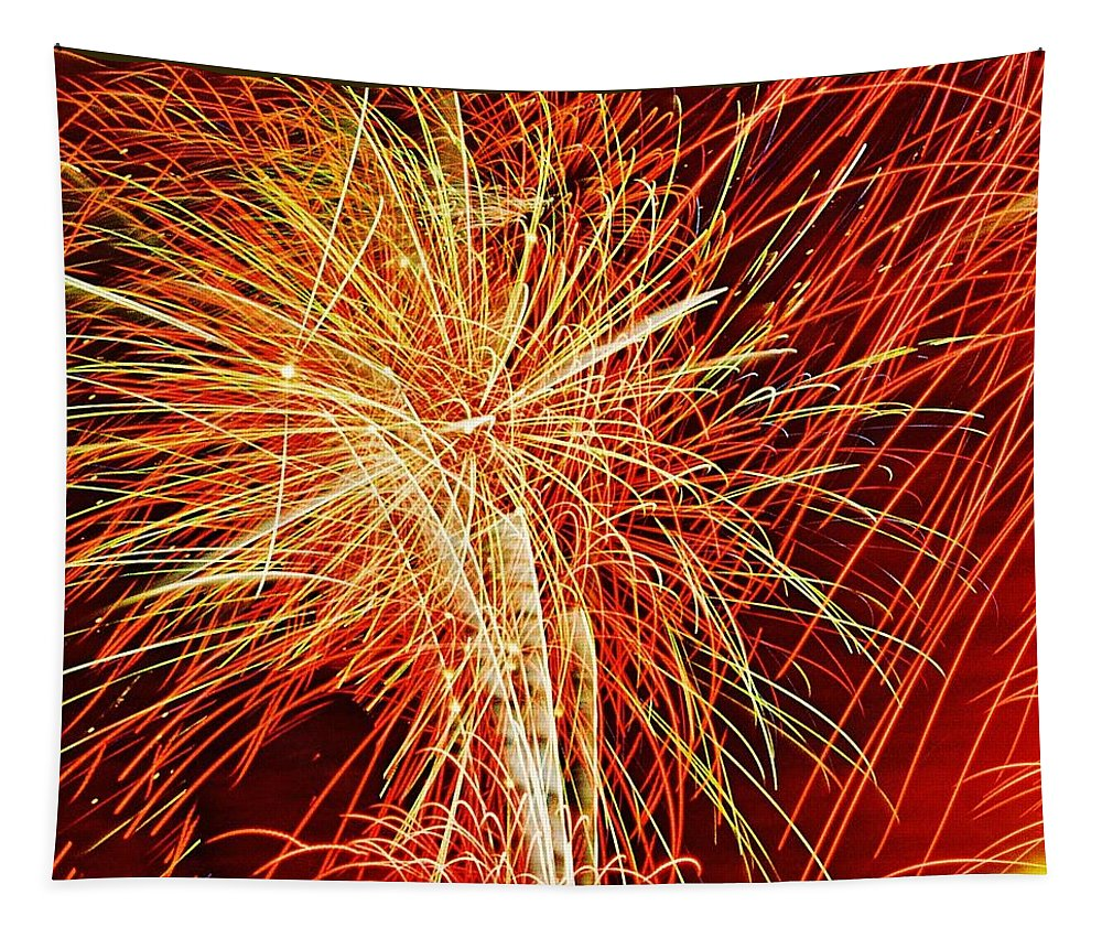 Fireworks Tapestry featuring the photograph Bursting In Air by Daniel Thompson
