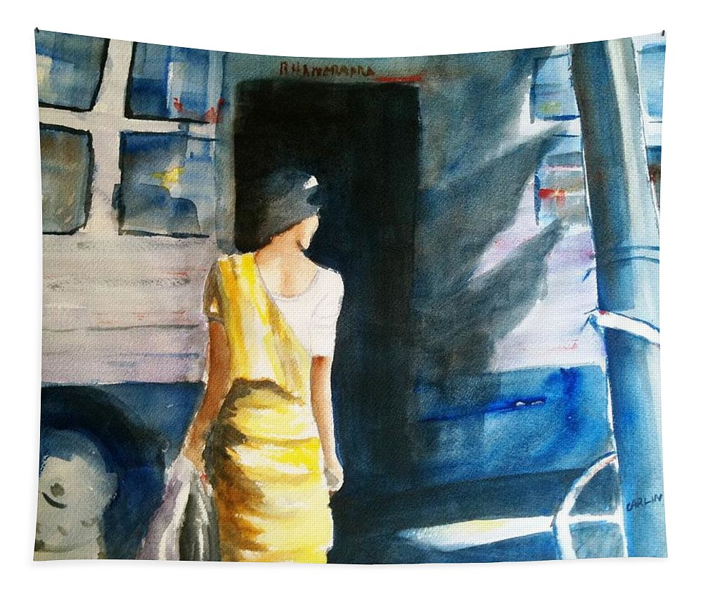 Woman Tapestry featuring the painting Bus Stop - Woman Boarding The Bus by Carlin Blahnik CarlinArtWatercolor