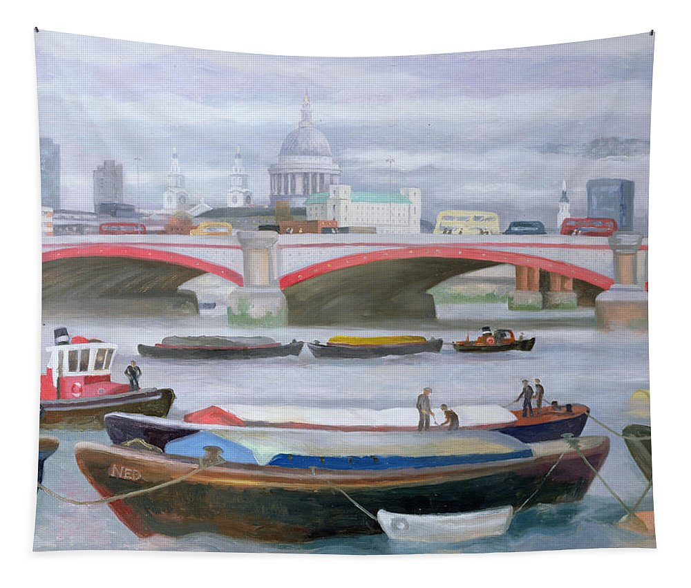 River Thames Tapestry featuring the painting Busy Scene At Blackfriars by Terry Scales