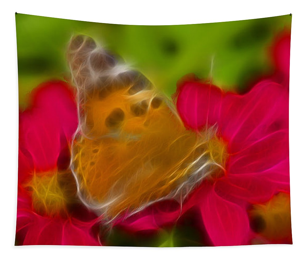 Butterfly Tapestry featuring the photograph Butterfly-5416-fractal by Gary Gingrich Galleries