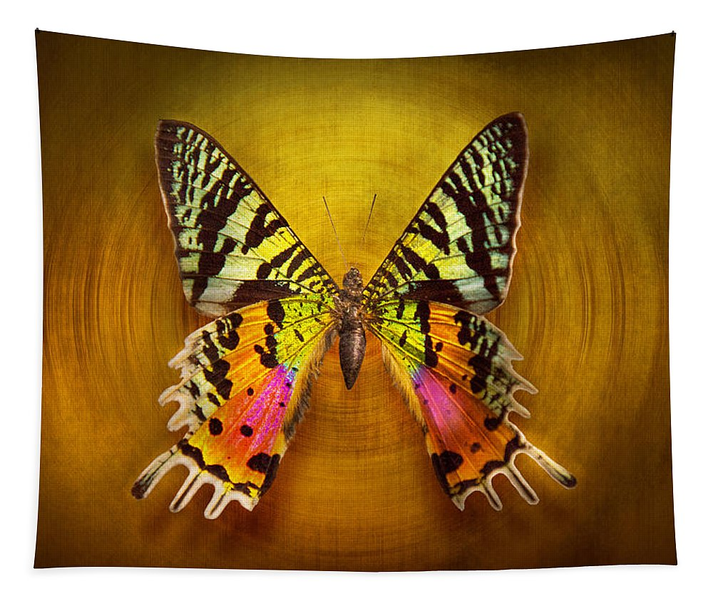 Butterfly Tapestry featuring the photograph Butterfly - Butterfly Of Happiness by Mike Savad