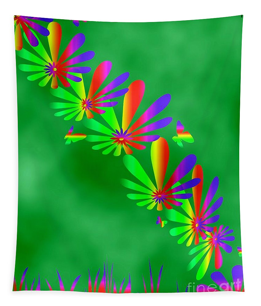 Art Tapestry featuring the digital art Butterfly Path by Linda Galok