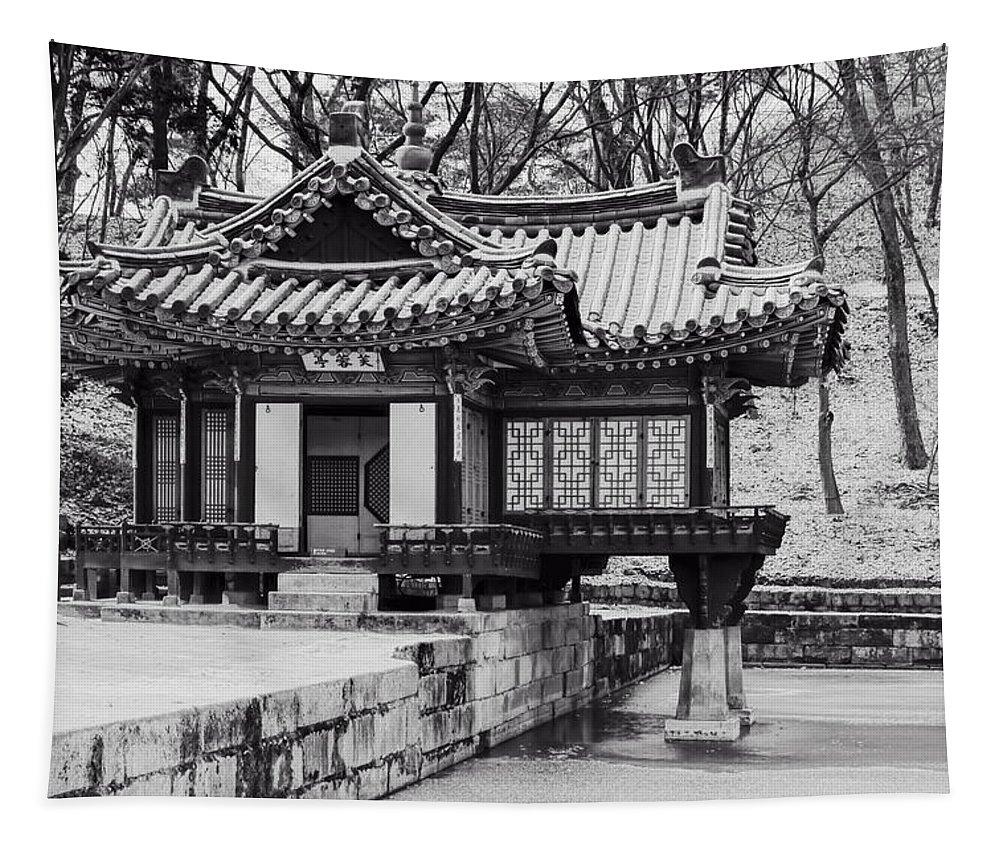 Joan Carroll Tapestry featuring the photograph Buyongjeong Pavilion In Secret Garden by Joan Carroll